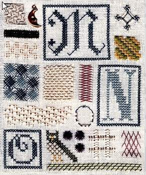 Merk- en Letterlappen/letters, randen | The Drawn Thread | DT048: deel MNO (DT048) | Sampler of stitches: deel MNO patroon