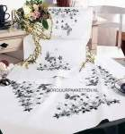 Tablecloth printed stitch and stemstitch | Vervaco | 2084/60.906: ZONDER ZIJDE: OP=OP (2084/60.906) | Vervaco: Tablecloth in white with black/grey nuances: NO DMC