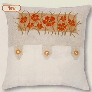 Cushions counted c.s. on  evenweaves/linens/aida | Vervaco | PN-0145326 | Vervaco Cushion with poppies