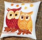 Cushions counted c.s. on  evenweaves/linens/aida | Permin of Copenhagen | 83-3349 | Permin, Cushion with owls