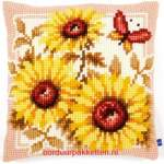 Cushions printed cross stitch | Vervaco | PN-0147040: NIEUWE COLLECTIE VERVACO 2016/3 (PN-0147040) | Vervaco, Sunflowers cushion