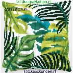 Cushions printed cross stitch | Vervaco | PN-0166284 | Vervaco, Botanical leaves, cushion