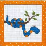 Children, counted cross stitch, 5 to 15 years, Disney also | Rico Design | 77902.54.00: OP=OP!!!OPRUIMING RICO KINDERPAKKET | Rico Design: Snake, frame included