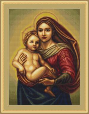 Religion | LUCA-S | G419: NOG 1 X, ONLY 1 X | Madonna and child: petit-point stitch