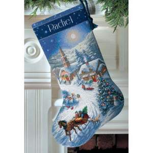 Kerst | Dimensions | 8712 (PN-0142189-8712) | Sleigh ride at dusk stocking: Gold Collection