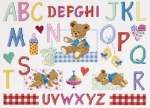 BABY:Geboortelappen, kinderkamer, bedgoed, KNUFFELS | DMC | BK1200: NOG 1 X, ONLY 1 X | The day of the bear sampler , Beren merklap , DMC