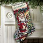 Kerst | Dimensions | 8778 (PN-0142189-8778) | Candy cane Santa stocking: Dimensions, Gold Collection