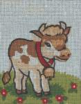 Children embroidery printed 6 to 12 years | Collection 'd Art / Cewec/Grafitec | 3016 + DMC zijde (3016) | Collection d'Art , Gobelin, printed canvas: Cow